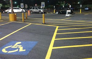 A parking lot striped by Kent Asphalt Paving in Kent